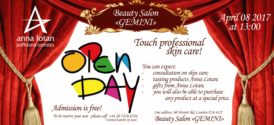 Touch professional skin care! Open Day at The Beauty Salon Gemini!